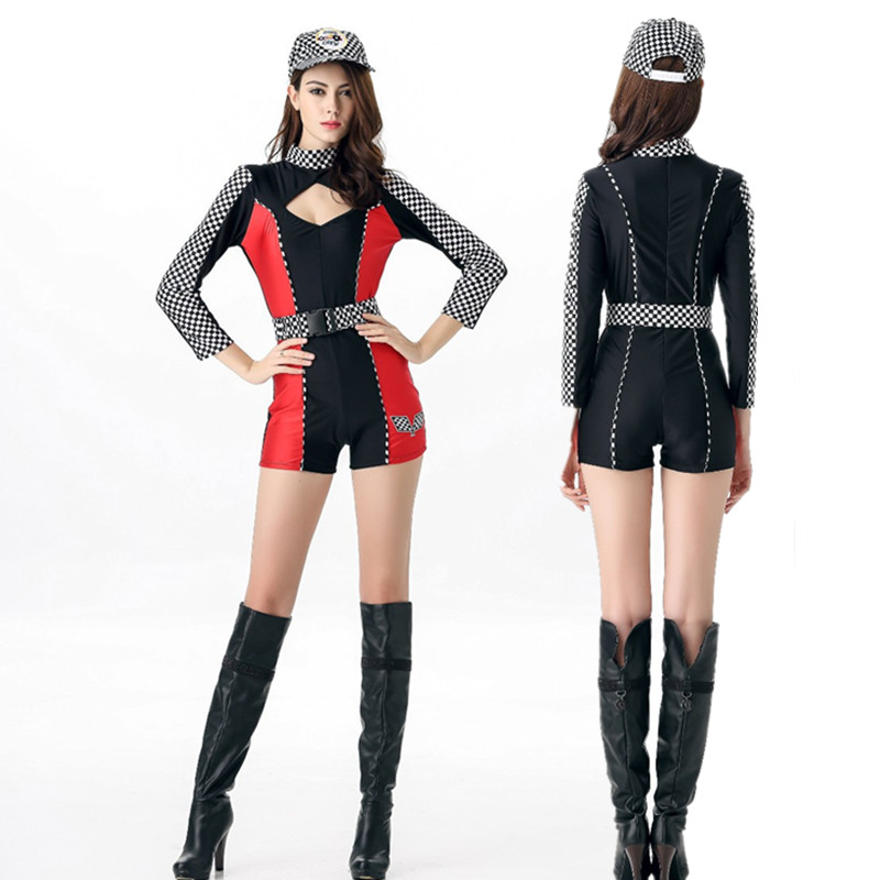 Sexy Car Racing Bodysuit Women Sexy Driver Racing Uniforms Black Red Fancy Models Cheerleader Costumes Cosplay Party clothing