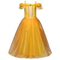 2017 Girls Cartoon Fancy Dress Kids Yellow Off Shoulder Princess Party Dress Beauty And The Beast