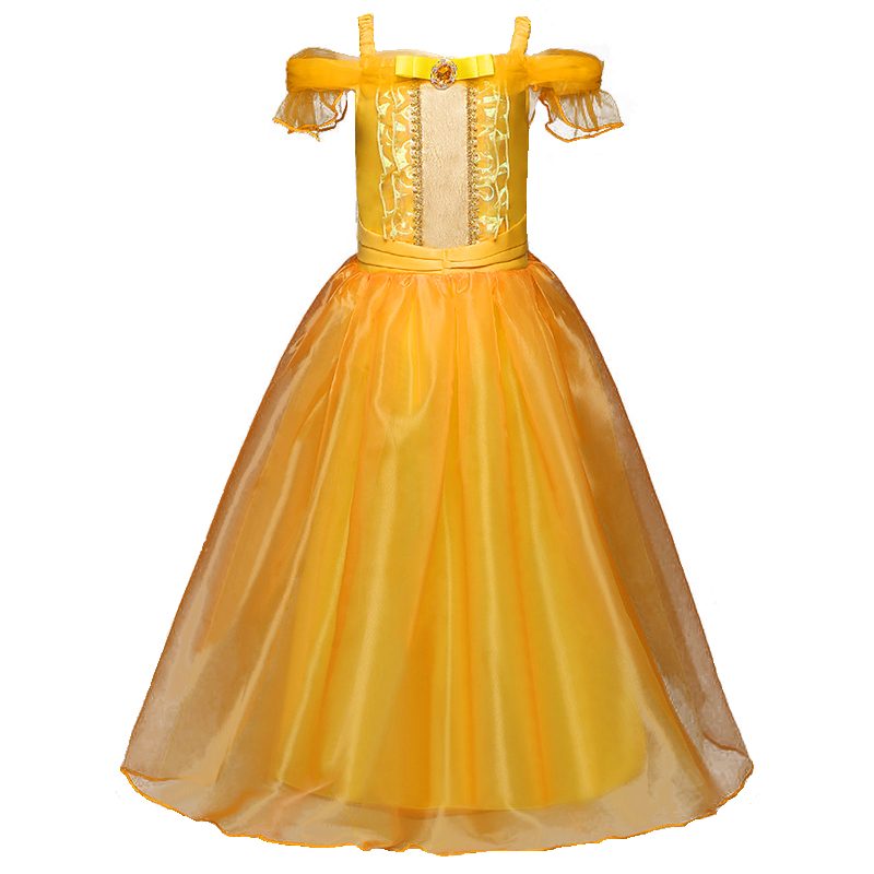 Girls Cartoon Fancy Dress Kids Yellow Shoulder Princess Party Dress Beauty and the Beast Belle Cosplay Kid Long Halloween Dress nnw beauty and the beast belle cosplay princess fancy kids costumes grils yellow dresses with sleeve hight quality