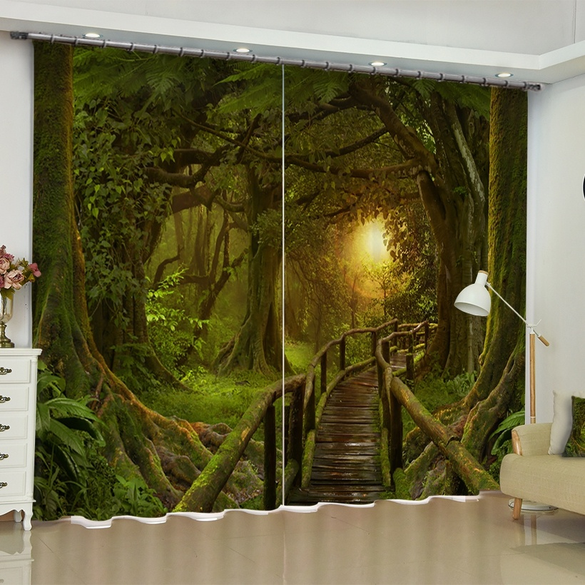Birch Tree Palm Scenery Curtains Blackout Darkening D For Living Room Bedroom Small Windows French Window Door