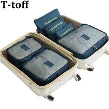 6 шт./компл. мода двойной молнии Водонепроницаемый полиэстер Для мужчин и Для женщин Чемодан Дорожные сумки упаковочные кубики