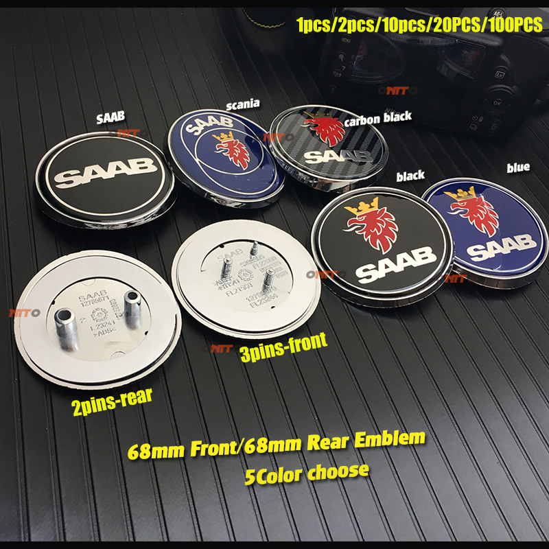 3 pins /2 pins 68mm 6.8CM SAAB Car Front Hood Bonnet Emblem Rear Truck Badge Covers blue/black/conbon for 03 10 9 3 9 5 93 95|Car Stickers| |  -