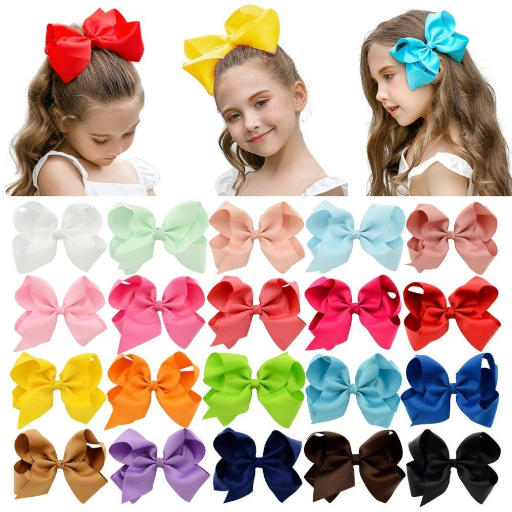 YHXX YLEN 1Pcs 6 Inch 40 Colorful Kids Girls Big Solid Ribbon Hair Bow Clips Hairpins
