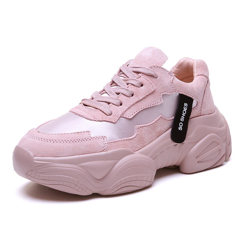 Women Chunky Sneakers 2019 Spring Platform Shoes Woman Casual Footwear Female Pink trainers zapatos de mujer
