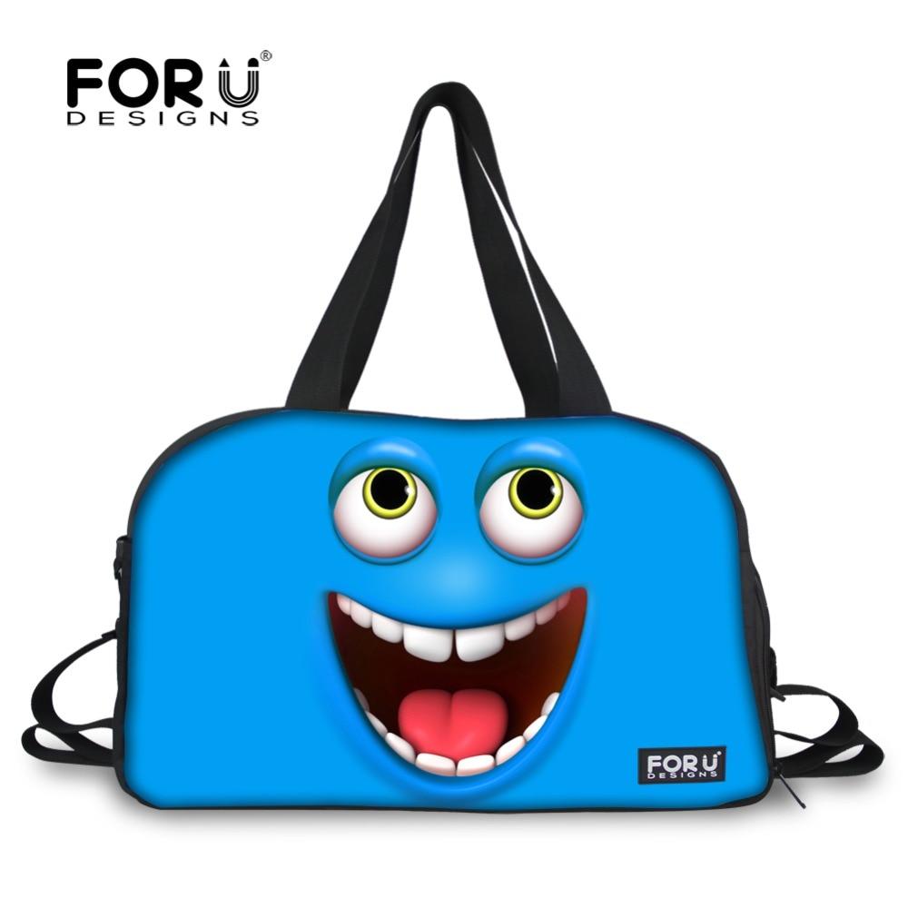 FORUDESIGNS 3D Funny Duffle Bags for Women Travel Bags Luggage Bag Emoji Face Printed Womens Large Capacity Bag Cotton Road Bag