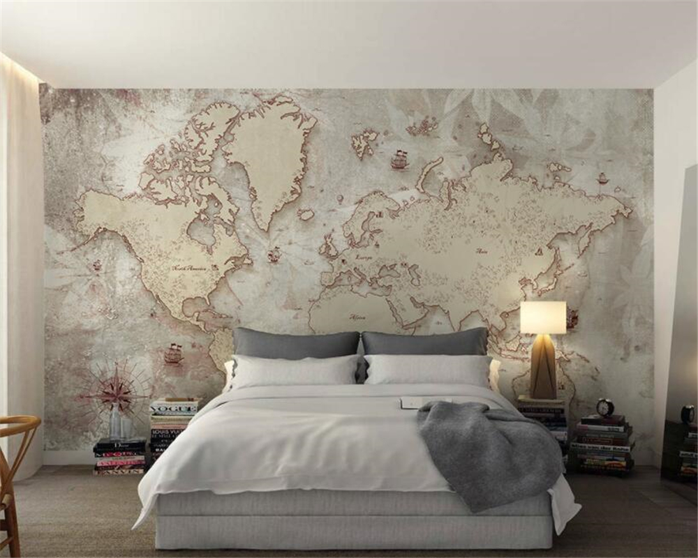 Beibehang Custom Wallpaper Retro Old Style World Map Background Wall Decorative Wallpaper papel de parede wall paper home decor 1pc 32cm world globe map ornaments with swivel stand home office office shop desk decor world map geography educational tool