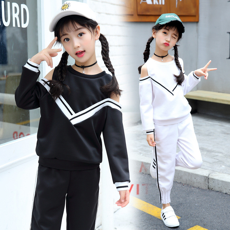 5-12 years cotton 2017 fashion spring autumn striped V kid suit children clothes girl clothing set T-shirt+pant