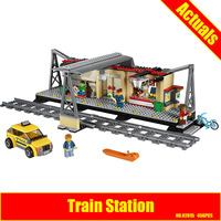 Lepin 02015 City Trains Train Station With Rail Track Taxi 456Pcs Building Block Set Boys Model