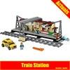 Lepin 02015 City Trains Train Station With Rail Track Taxi 456Pcs Building Block Set Boys Model