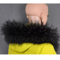 Natural Raccoon Fur Collar Big Raccoon Wool To Brim Hat Hat Black Fur Scarf