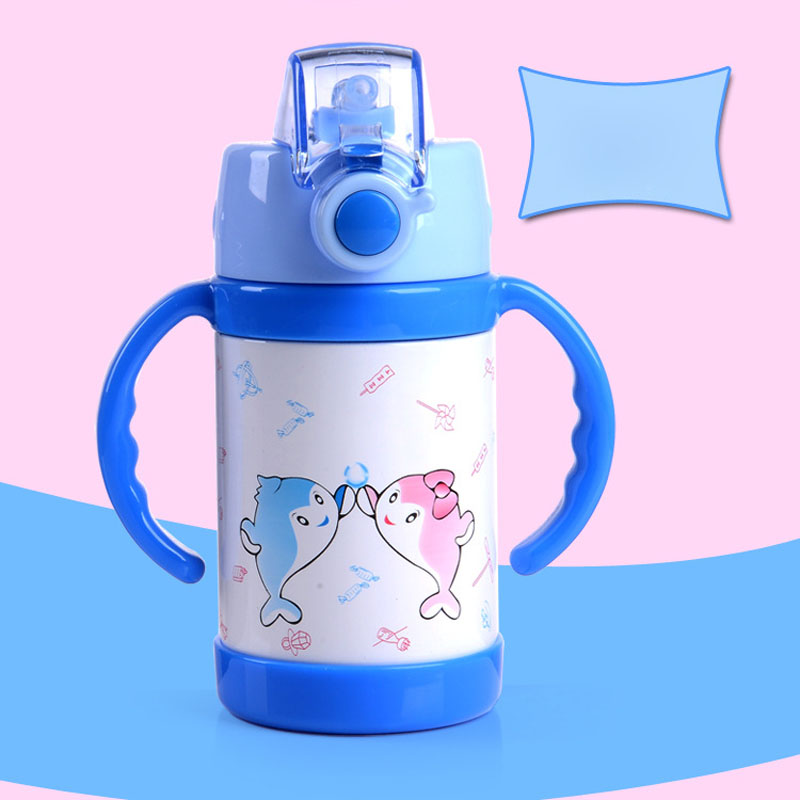 New ChildrenS Straws Health Cups Stainless Steel Vacuum Double-Layer Sports Fashion Bounce Baby Rest Assured Insulation Cup