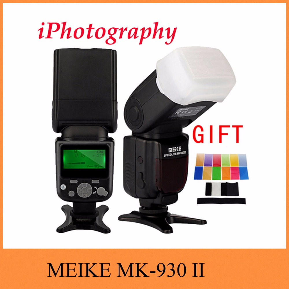 MEIKE MK-930 II MK 930 II LCD GN58 Flash Speedlite single point flash for Canon Nikon Pentax Olympus DSLR + diffuser + filter universal soft screen pop up flash diffuser for nikon canon pentax olympus camera soft diffuser plastic diffuser softer 10d 20d