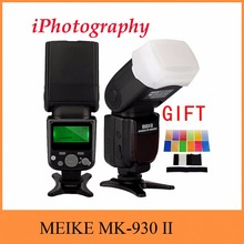 цена на MEIKE MK-930 II MK 930 II LCD GN58 Flash Speedlite single point flash for Canon Nikon Pentax Olympus DSLR + diffuser + filter
