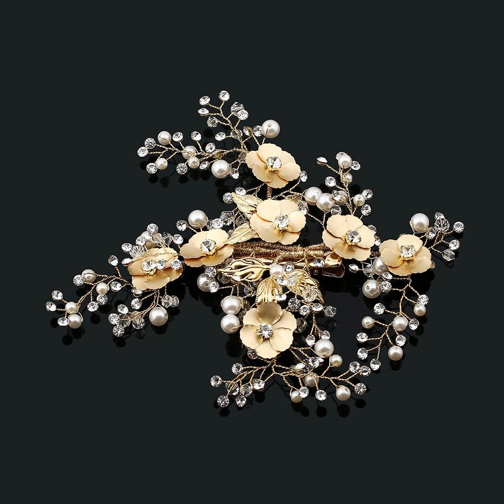 2017 New Arrival Elegant Handmade Golden Crystal Pearls Flower Leaf font b Wedding b font Hair
