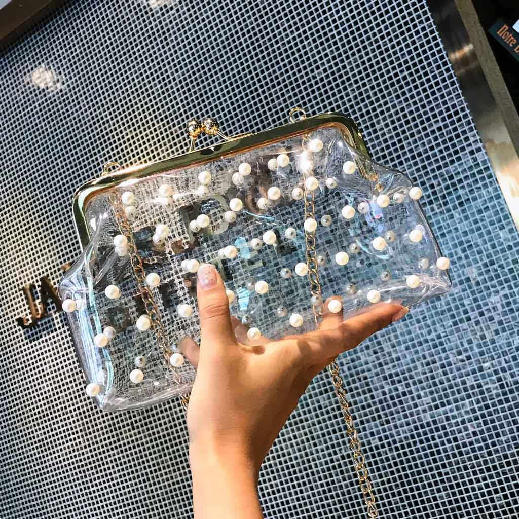 INS Shoulder Bag Handbag Clear Transparent Jelly Clutches Bag Ladies Pearl Party Purse Handbag Date Out Bolso Mujer Hot Sale