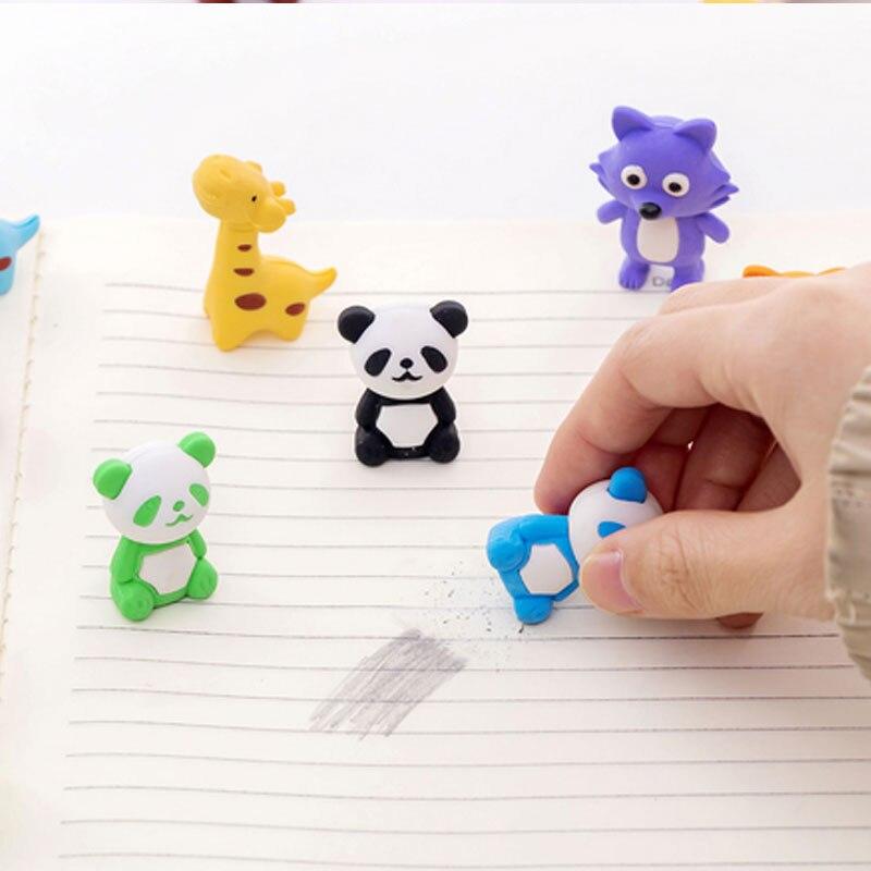 4pcs lot Cartoon panda Rubber Eraser Art School Supplies Office Stationery Novelty Pencil correction supplies in Eraser from Office School Supplies