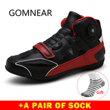 Gomnear Motorcycle Boots Men And Women High Ankle Racing Shoes Biker Microfiber leather Breathable Race Motocros Motorbike