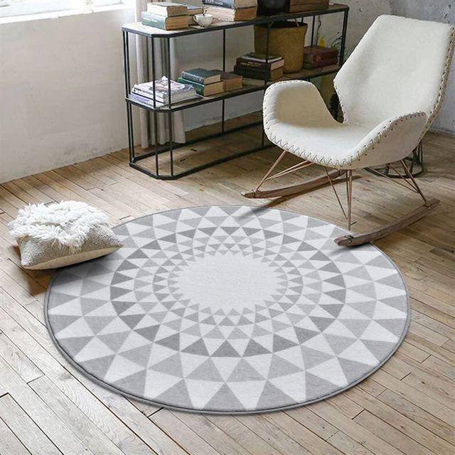 Nordic Grau Serie Runde Teppiche Für Wohnzimmer Computer Stuhl Bereich  Teppich Kinder Spielen Zelt Bodenmatte Garderobe