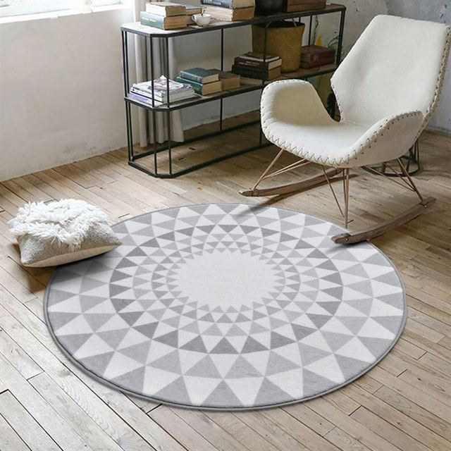 Nordic Gray Series Round Carpets For Living Room Computer Chair Area ...