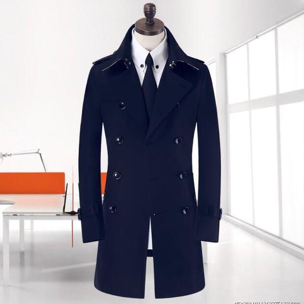 Khaki beige 2017 new autumn slim sexy medium long trench coat men business outerwear mens trench