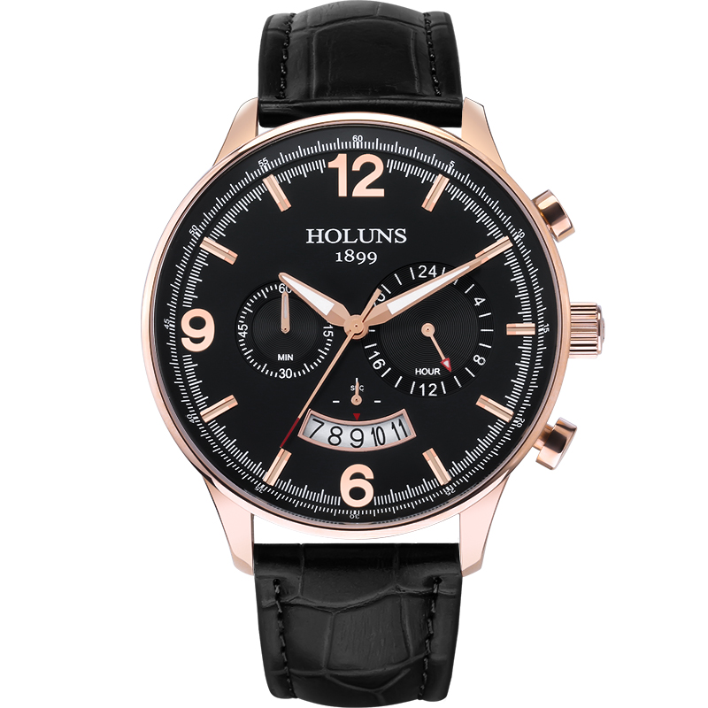 Luxury HOLUNS looked at the leather strap waterproof date chronograph quartz watch men's watch цена и фото