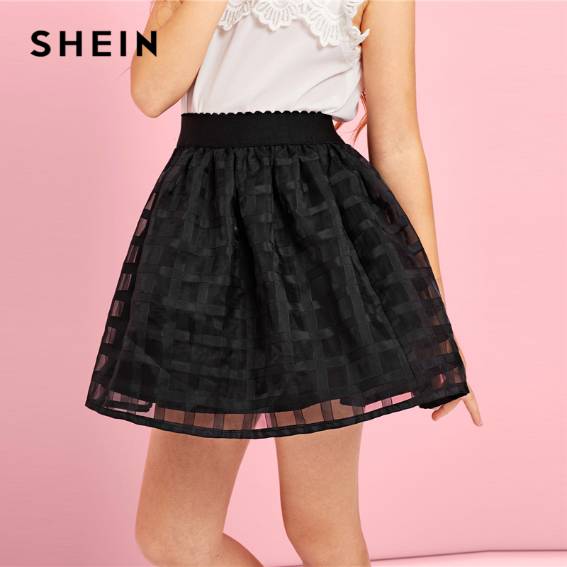 SHEIN Kiddie Black Mesh A Line Cute Girls Skirts 2019 Spring Korean Fashion Elegant Mini Skirt Girl Ball Gown Kids Skirts stylish jewel neck flower embellish bowknot design ball gown dress for girl