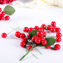 100pcs/lot Christmas Tree Decoration Artifical Foam Red Small Ball Fruit Flower Bouquet Foreigner Gift Fake Floral Fruit Berry(China)