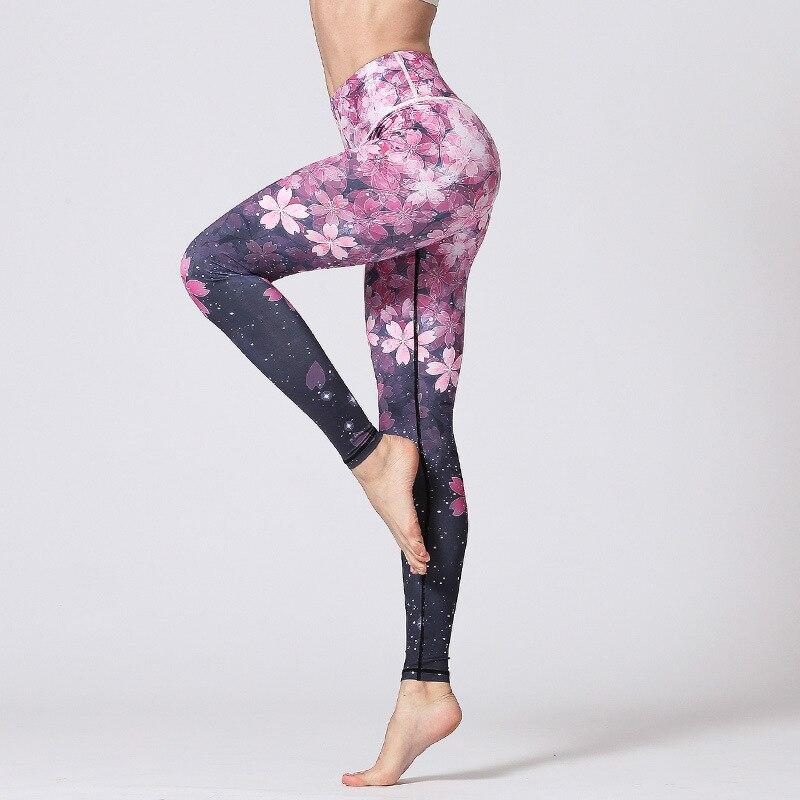 2018 New Arrival Yoga Pants Women Print Dry Fit Yoga Leggings High Waist Elastic Sport Leggings Women