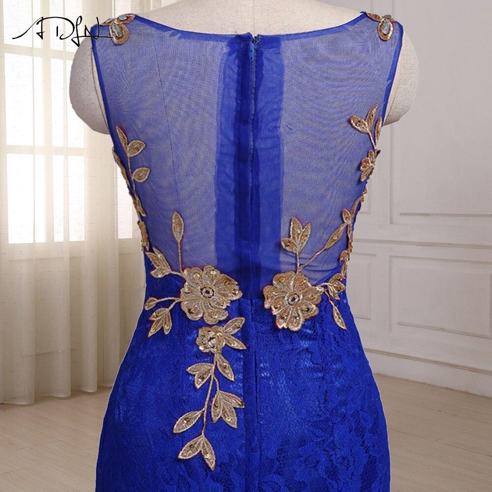 ADLN Royal Blue Mermaid Aftonklänning Cap Sleeve Golvlängd Custom - Särskilda tillfällen klänningar - Foto 5