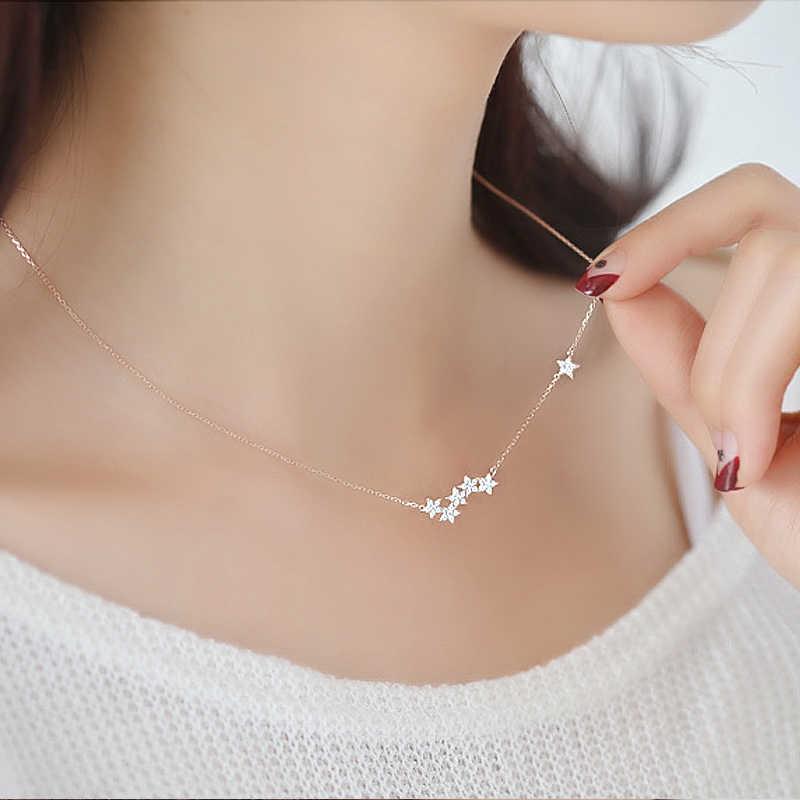 Collares de estrellas de cristal de Plata de Ley 925 y collar de declaración colgante para mujer