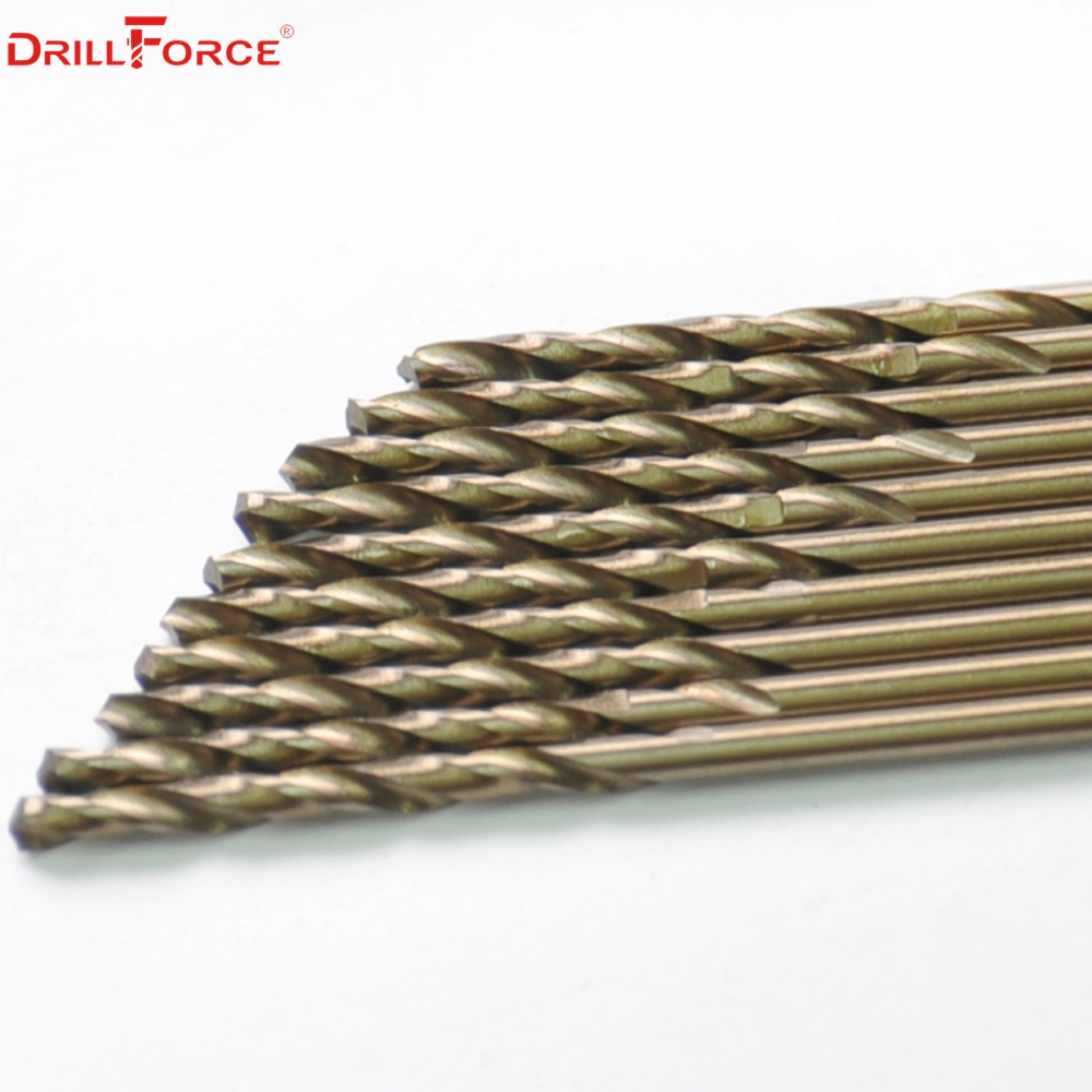Drillforce Tools 12.5mm M35 Cobalt Drill Bits Set,HSS-CO Drill Bit Set,for Drilling on Hardened Steel,Cast Iron &Stainless Steel drillforce 5pcs 31 64 12 5mm m35 hss cobalt jobber length twist spiral drill bit 135 split point
