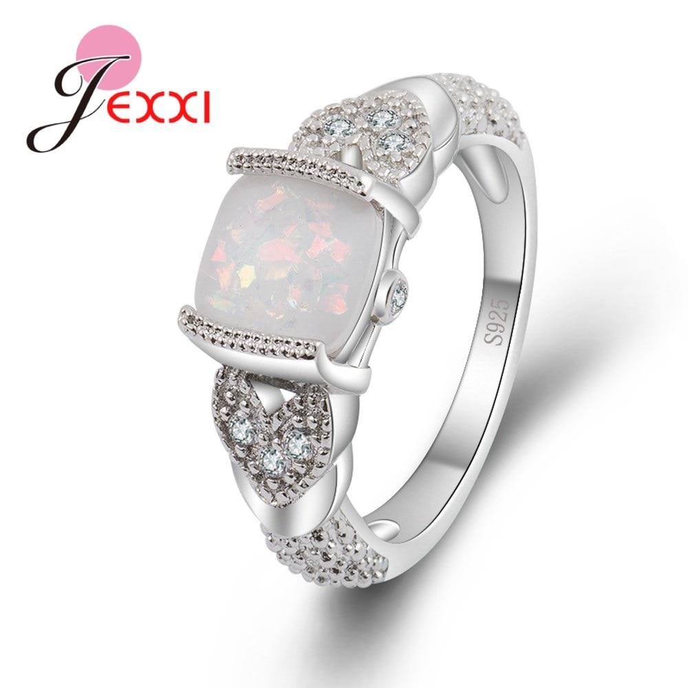 Big Cheap Wedding Rings: JEXXI Created Fashion Square Big Fire Opal Rings For Women