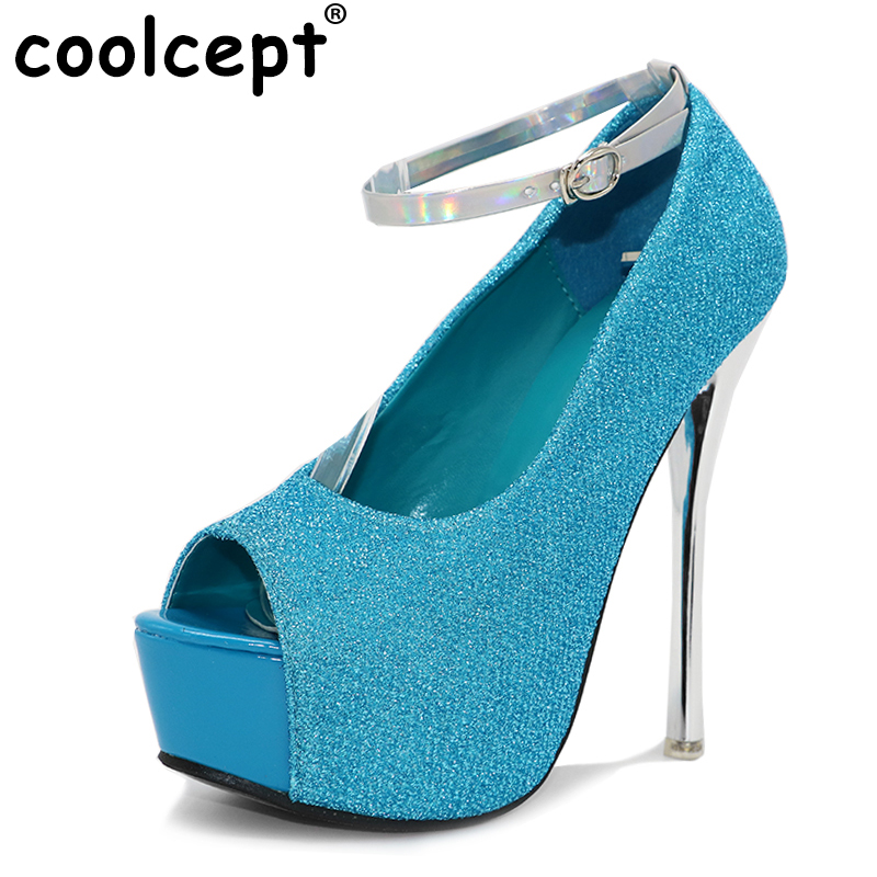 Coolcept women peep toe platform high heel shoes sexy fashion ladies heeled wedding footwear heels pumps shoes size 34-40 P19202