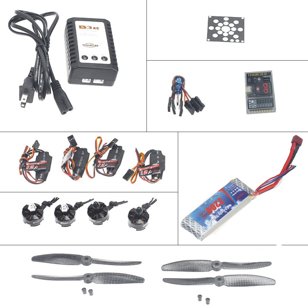 F12065-S Helicopter Kit KV2300 Brushless Motor+12A ESC+QQ  Flight Control+5030 Propeller+ 2200mMah Battery DIY Aircraft Parts 3pcs battery and european regulation charger with 1 cable 3 line for mjx b3 helicopter 7 4v 1800mah 25c aircraft parts