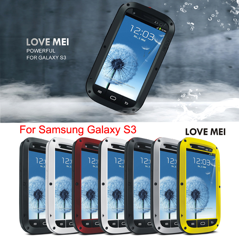 LOVE MEI Original Shockproof Dirtproof Waterproof Aluminum Metal Case For samsung galaxy s3 case Cover With
