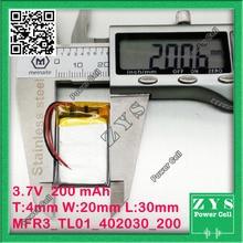 Embalaje de seguridad (Nivel 4) 1 unids. batería de li-ion 3.7 v 200 mAh batería recargable 3.7 v 200 mah Tamaño: 4x20x30mm 402030 042030
