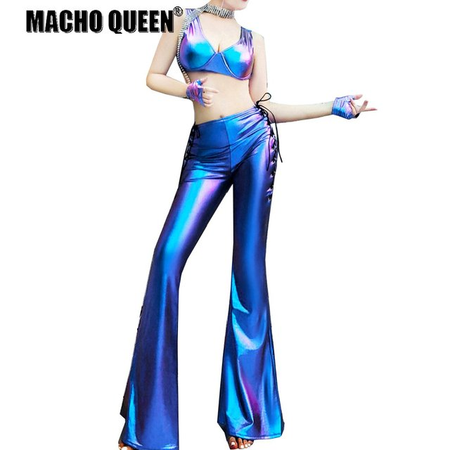 Burning Man Costumes Holographic Flare Bell Bottom Wide Leg Pants Legging Rave  Festival Clothes Outfits Women vintage Leggings 3f431fc07b8d
