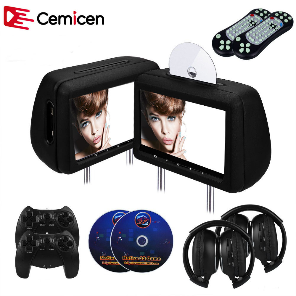 Cemicen 2PCS <font><b>10</b></font>.1 inch Car Headrest Monitor DVD Video Player with FM/IR Transmitter/USB/SD(MP5)/Wireless Game/HDMI Port/Gamepad image