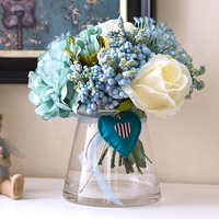 1 Set Artificial Flowers Rose Peony Bouquet Blue Heart Open Conical Glass Vase Wedding Home Shop Decoration Fake Flower