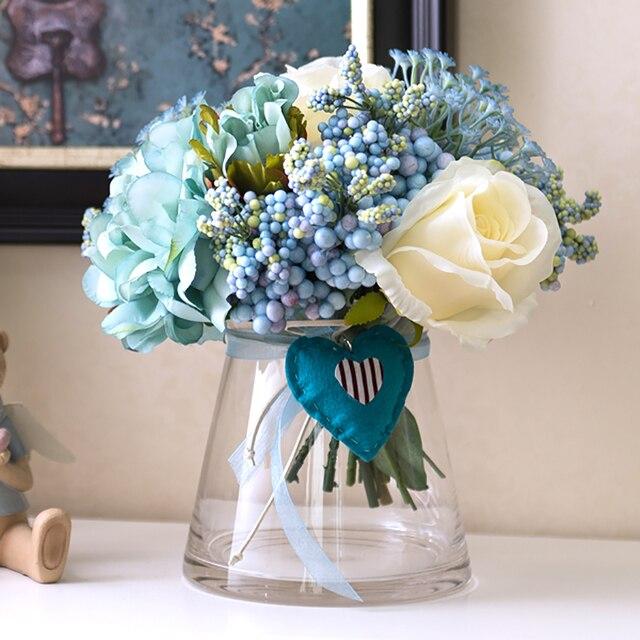 Wonderbaar 1 Set Kunstbloemen Rose Pioen Boeket Blauw Hart Open Conische TP-08