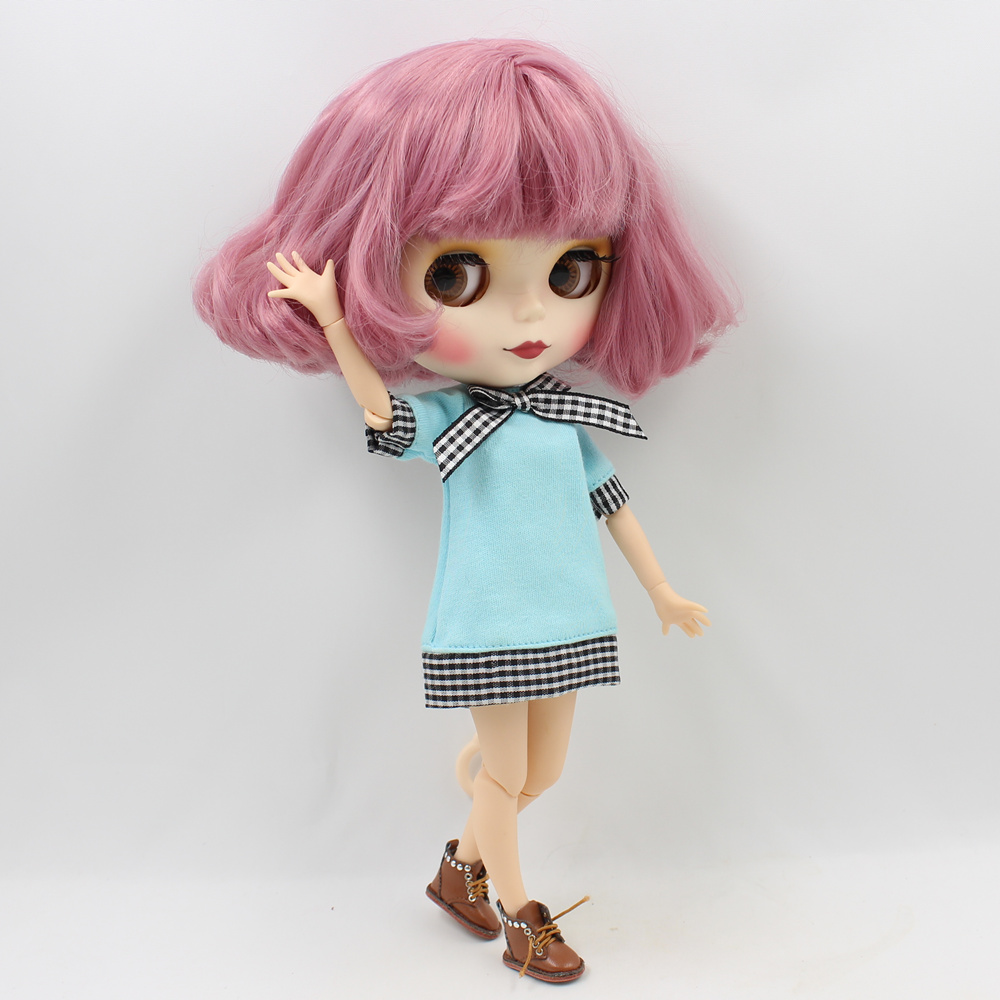 Blyth Doll Nude Joint Body Pink Short Hair 4 Colors Eyes 1/6 BJD Suitable DIY makeup blyth dolls for sale free shipping bjd joint rbl 354j diy nude blyth doll birthday gift for girl 4 colour big eyes dolls with beautiful hair cute toy