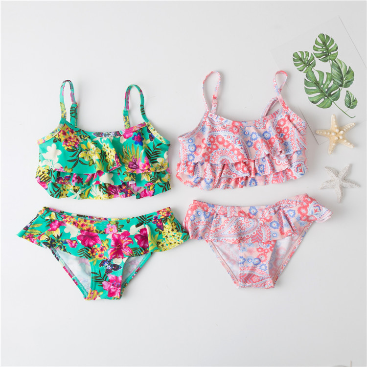 New 2019 Girls Swimsuit Two Piece Floral Children's Swimwear Two Piece Girls Swimwear 2019 Summer Beachwear Swimming G36-CZ916