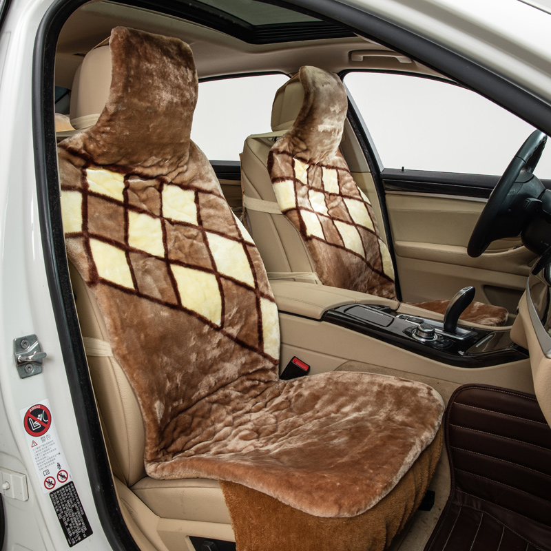 diamond pattern coffee plush car seat covers 2 front or full 5 seat cover autumn winter faux fur pad for universal car keep warm