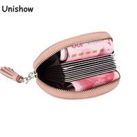 Unishow Genuine Leather Women Card Holders Small Tasssel Leather Wallet Brand Women Business Card Wallets Female
