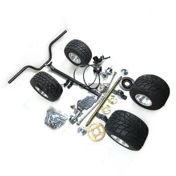 Go Kart Karting ATV UTV Buggy 60CM Rear Axle Tie Rod Steering Knuckles Flanges Studs Handlebar Steering Column With 5 Inch Wheel