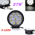 1pcs 27W LED Work Light 30 Degree High Power LED Offroad Light Round Off road LED Work Light SpotLights for Boating Hunting