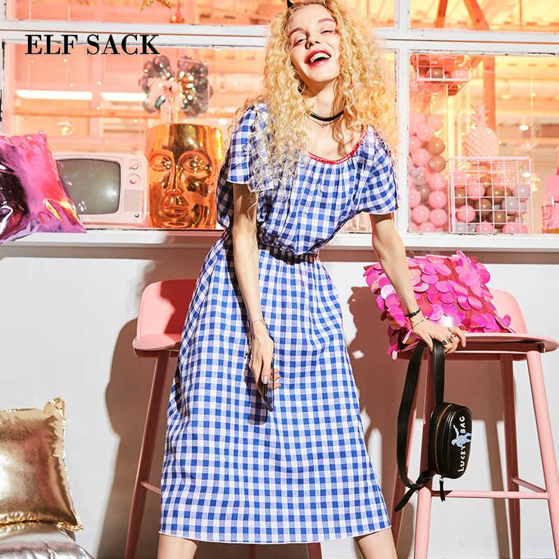 ELF SACK/новое летнее женское платье, хлопковое повседневное клетчатое женское платье, короткое винтажное платье трапециевидной формы с круглым вырезом, летние женские вечерние платья
