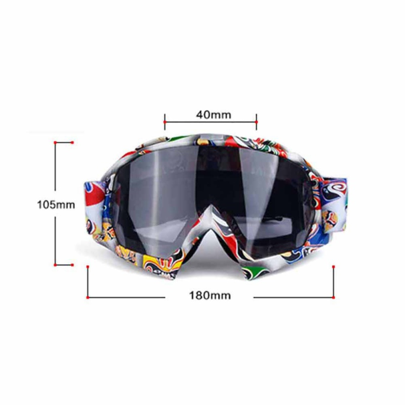 New Outdoor Skiing Eyewear UV Protection TPU PC Glasses Printed Wide Frame Cycling Motor Goggles Lightweight Windproof