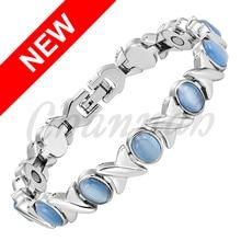 2016 Ladies Violet Blue Cat Eye Stone Silver Magnetic Women Bracelet Jewelry Bio Healing Bangle Free Shipping via Hong Kong Post