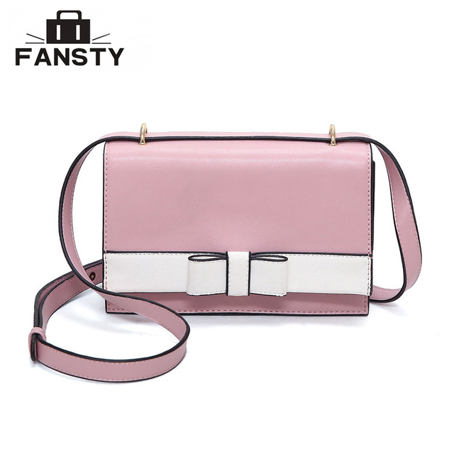 New Sweet Bow Knot Women Cross Body Bag Pu Leather Buckle Lady Messenger Bag  Patchwork High Quality Female Handbag for Dating 601c49067f